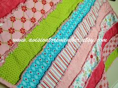 Free Pattern from A Vision to Remember.  Strip Rag Quilt with Quilting and Binding