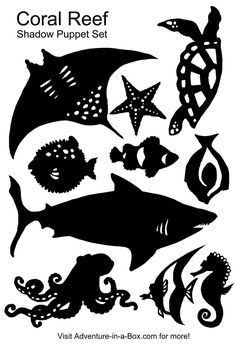 FREE JPG shadow puppet templates turtle shark octopus seahorse puffer fish angel fish ray clown fish star tang Coral-Reef-Shadow-Puppet-Set.jpg 3,072×4,500 pixels