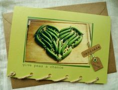 Give Peas a Chance - Green Peas Heart - Personalised Card Handmade in Ireland Give Peas A Chance, Conkers, Brown Envelopes, Envelope Sizes, Green Peas, Dublin Ireland, Natural Brown, Card Sizes, Shades Of Green