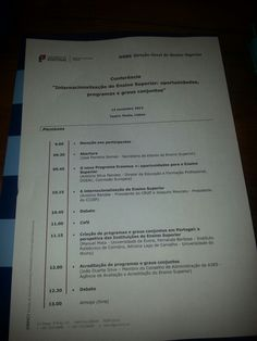 """At the Conference """" Internacionalization of Higher Education """", organized by the Portuguese Ministery of Education"""