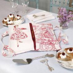 Канва Аида: Сумка для пирога красного цвета «Toile de Jouy» для вышивки крестом