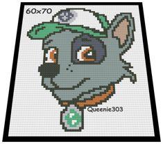 Paw Patrol Rocky 60x70 Paw Patrol Rocky, Red Heart Yarn, C2c, Grandkids, Pixel Art, Crocheting, Crochet Patterns, Chart, Color