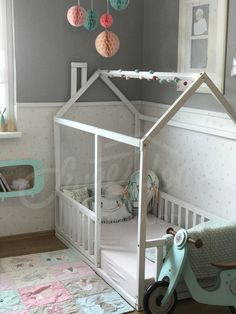 Mint child room, mint and grey kids room, frame bed, children bed, play tent, house bed, toddler bed floor bed baby room nursery crib home bed Pikler baby bed teepee
