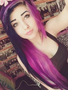 purple and pink scene hair Emo Scene Hair, Emo Hair, My Hairstyle, Pretty Hairstyles, Scene Hairstyles, Hairstyle Ideas, Blue Hair Tumblr, Pink And Black Hair, Black Lips