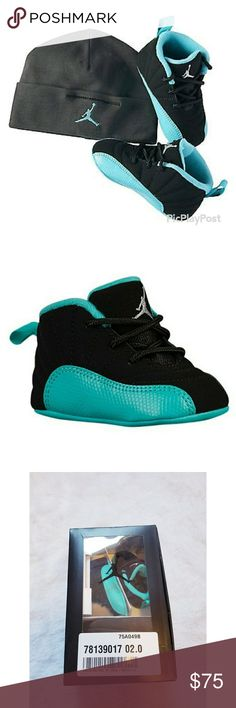 Girls Infant Jordan Retro 12 Gift Set Brand new, only removed from box to photograph. Black/metallic silver/hyper jade girls infant jordan retro 12 shoe. Premium leather for durability and style. Also comes with matching hat. Size 2C/3-6 months. Reasonable offers welcome through the offer button. Jordan Shoes Baby & Walker