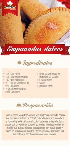 Empanadas dulces #receta #lacosteña #dulce: Mexican Pastries, Mexican Sweet Breads, Mexican Bread, Mexican Dishes, Mexican Food Recipes, Dessert Recipes, Sweet Desserts, Sweet Recipes, Delicious Desserts