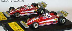 Dos versiones del Ferrari 312T3/F1 de 1978. Con el nº11 el pilotado por Carlos Reutemann y con el nº12, el de Gilles Villeneuve, ambos realizados por Quartzo a 1:43