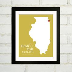 Personalized Wedding Gift  : Custom Wedding State Map Print - 8x10 / Illinois - All 50 States Available - Engagement Gift. $24.00, via Etsy.