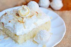 Raffaello Poke Cake Coconut Cake with White ChocolateCoconut Cream and Whipped Topping 4 from willcookforsmiles.com #cake #coconut #pokecake