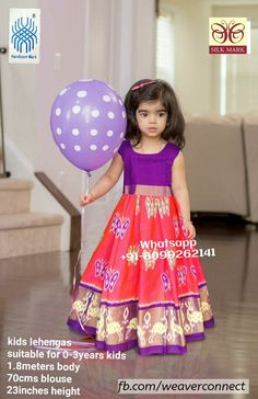 Exclusive ikkat kids lehengas available in stock ready to ship Whatsapp Measurements: Suitable for age group body blosue height Baby Dresses, Flower Girl Dresses, Summer Dresses, Wedding Dresses, Children Wear, Kids Wear, Babies Clothes, 3 Years, Kids Clothing
