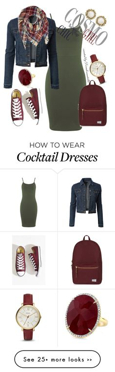 """School is in"" by divadonnatella on Polyvore featuring Miss Selfridge, LE3NO, Converse, Herschel Supply Co., FOSSIL and Kendra Scott - #sneakers outfit jacket #jeans #dress"
