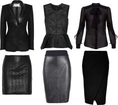 """corporate goth styled staples mix and match: """"Shades of Black: Office Sets"""" by… Corporate Goth, Corporate Fashion, Office Fashion, Dark Fashion, Gothic Fashion, Latex Fashion, Steampunk Fashion, Emo Fashion, Gothic Chic"""