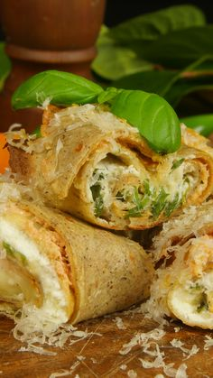 Savory Crêpe Roll : Thin buckwheat pancakes filled with lots of creamy, cheesy goodness will be the highlight of your morning. Crepes And Waffles, Savory Crepes, Pancake Fillings, Onigirazu, Crepes Filling, Buckwheat Pancakes, Vegetarian Recipes, Cooking Recipes, Brunch Recipes
