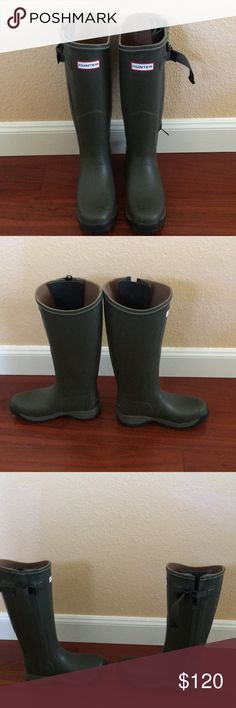 Authentic Hunter Rainboots. Army green. Sz 6. Authentic Hunter Rainboots. Army green. Sz 6. Worn once! Super cute for Fall. Has side zipper detail. Hunter Boots Shoes Winter & Rain Boots