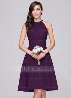 A-Line/Princess Scoop Neck Knee-Length Chiffon Bridesmaid Dress With Ruffle (007059438)