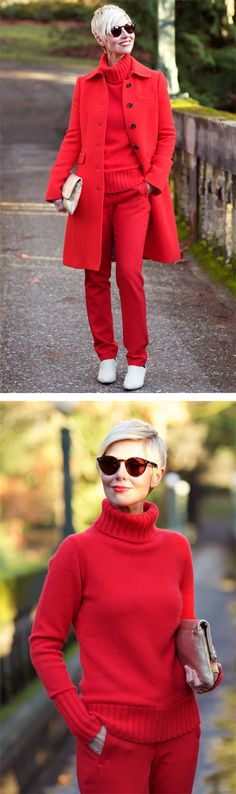 I combined three tomato red items in one outfit for a festive Thanksgiving Day outfit. Mature Fashion, Fashion Tips For Women, Dress For Success, Fall Wardrobe, Everyday Fashion, Sewing Ideas, Outfit Of The Day, Effort, Style Me