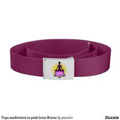 Yoga meditation in pink lotus flower belt