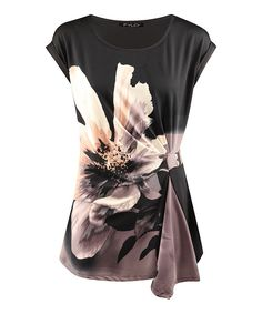 Look at this Dex Black Floral Drape Top on #zulily today!