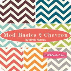 Mod Basics 2 Chevron Fat Quarter Bundle Birch Organic Fabrics - Fat Quarter Shop
