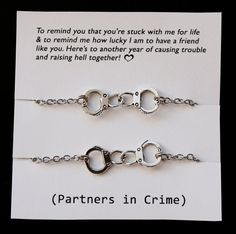 Set of 2 Partners in crime Best Friends Bracelets - Silver Handcuffs Bracelet handcuff bracelet handchain BFF jewelry Live Love Leaf designs...