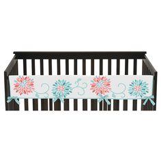 Sweet Jojo Designs Emma Long Crib Rail Guard Cover - Coral