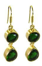Emerald CZ Gold Plated winning indian Earring Green L-1.5in UK gift