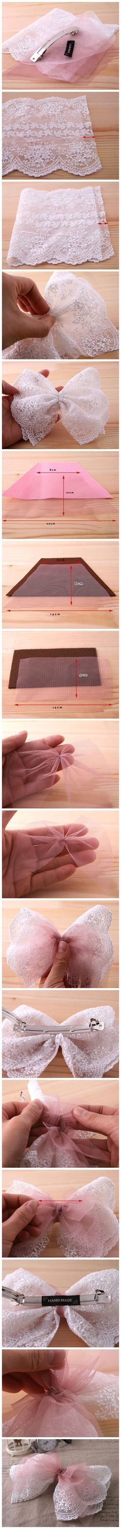 Lace and netting hair clip
