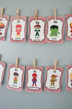Super Hero ABC Cards Super Hero Nursery Card Set by ANewDae