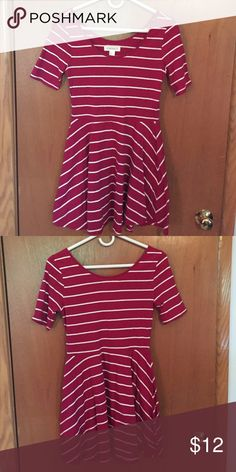 Red and white stripped dress Very cute red with white stripes skater dress. Comfortable cotton and stretchy material. Cute for fall! Forever 21 Dresses Mini