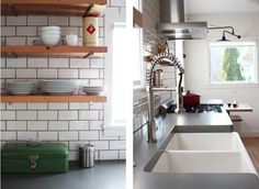 I love this kitchen.  Concrete countertops, white bottom cabinets, subway tile with a darker grout, and warm wood open shelves on top with plumber's pipe.  I would use warmer wood shelving and a single very large farmhouse sink.