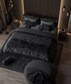 The classic elegant black colored bedroom never goes out of style. Tag a friend who loves dark bedroom? Black Bedroom Design, Black Bedroom Decor, Bedroom Setup, Bedroom Bed Design, Home Room Design, Home Decor Bedroom, Home Interior Design, Modern Interior, Bedroom Inspo