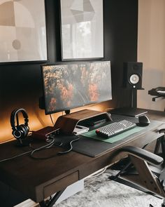 Home Office Setup, Office Inspo, Study Office, Home Office Design, Office Ideas, House Design, Music Desk, Computer Desk Setup, Desktop Design