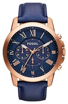 Fossil Men's Grant Chronograph Leather Watch - Rose Gold-Tone and Blue: With rich blue leather and punctuated roman numerals, our classic grant watch has everything you need for a best-dressed season. This grant watch also features a chronograph movement. Fossil Watches, Men's Watches, Luxury Watches, Cool Watches, Watches For Men, Jewelry Watches, Diamond Watches, Fossil Jewelry, Ladies Watches