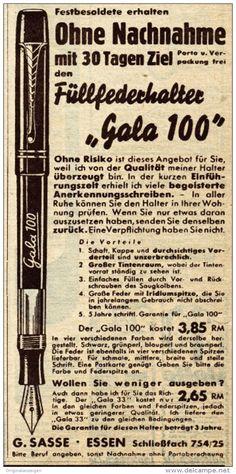 Original-Werbung / Anzeige 1938 - FÜLLFEDERHALTER GALA / SASSE - ESSEN - ca. 75 x 150 mm