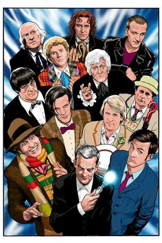 Oh SHIT. This Doctor Who mashup of all 12 Doctors by Kevin Maguire, done in his JLI cover style.