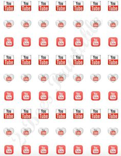 Printable YouTube stickers for planners. Use these handy stickers to track your postings, subscribers or channels. Each icon is