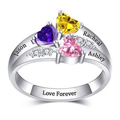 Customized Baby Feet Rings with Birthstone Engraved 2 Names Gift For Moms Hot