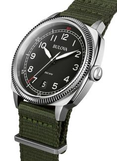 Bulova Accutron II Alpha UHF & Accutron II Lobster UHF: Luminous, round hour markers are set within an outer flange - Swiss Classic Watches Field Watches, Sport Watches, Cool Watches, Watches For Men, Bulova Mens Watches, Gents Watches, Most Popular Watches, Watch Blog, Bulova Accutron