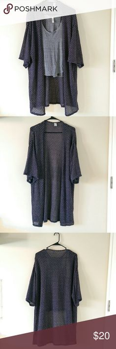 Long duster cardigan Navy blue with grey accents, long duster cardigan 29' long. Lightweight material with boxy short sleeves. Perfect for layering on warmer days, can be worn with denim shorts.  Excellent condition. H&M Sweaters Cardigans