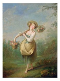 The Flower Girl, Rococo painting by Jean-Baptiste Huet (1745 -1811)- so fluffy and colored spot on.