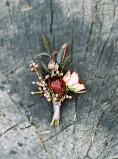 Blush and Burgundy Boutonniere with little berries and leaves - would be perfect on a navy suit or a tux for the groom or groomsmen!