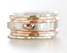 Stacking Rings / Heart Ring / Gold Stack / Stacking Rings Silver / Stacking…
