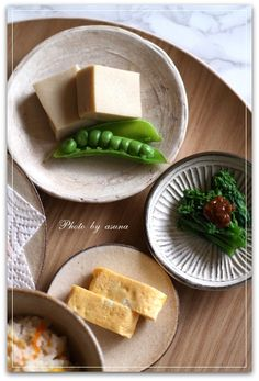 Photo: Japanese Meal at Home (Koya-Tofu with green peas, Egg Omelet, Boiled Broccoli Rabe) 日本の食卓