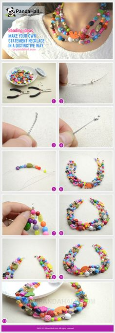 Jewelry Making Tutorial--DIY Your Own Statement Necklace in a Distinctive Way Wire Jewelry, Jewelry Crafts, Beaded Jewelry, Jewelery, Diy Jewellery, Do It Yourself Fashion, Lace Necklace, Jewelry Making Tutorials, Beads And Wire