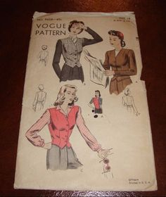 Vintage VOGUE PATTERN 9658 Long Sleeve Jacket or Sleevless 40's 50's Size 14 Cut