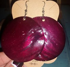 Large Circular Plum Colored Shell Earrings by RAVsLostAndFound