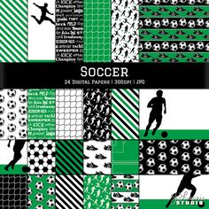 24 instant download digital papers for scrapbooking, paper crafts, photography, desktop wallpaper, backgrounds, etc. Soccer inspired patterns that