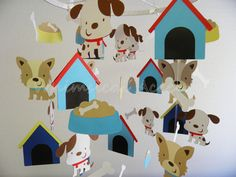 Puppy and Bone Baby Paper Mobile by whimsicalaccents on Etsy, $85.00