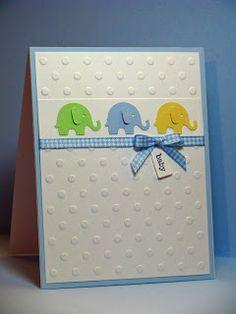 Sweet Embossed Elephant Baby Card...Kim S.: Joyful Creations with Kim. Using Martha Stewart elephant punch.
