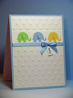 Sweet Embossed Elephant Baby Card...Kim S.: Joyful Creations with Kim. Using Martha Stewart elephant punch.